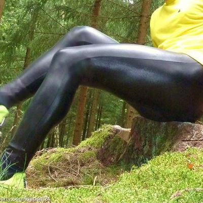 Gay Spandex Lycra Wetlook Leggings photos